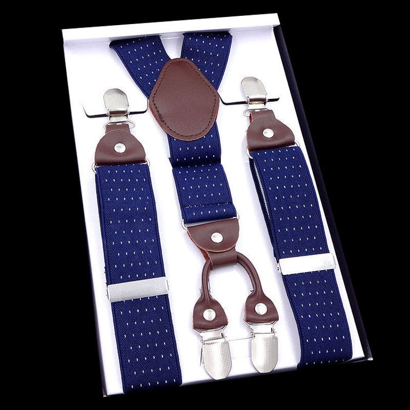 European And American Fashion 3.5*110m Four-clip Printed Leather Top Suspenders  FY18081611