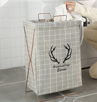 Simple household cotton and linen clothes storage basket folding bracket waterproof hamper basket toy barrel clothing laundry