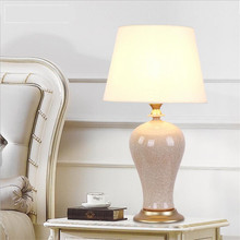 Classical Handmade Chinese Ceramic Fabric Led E27 Table Lamp for Living Room Bedroom Study H 65cm Dia 35cm 1618