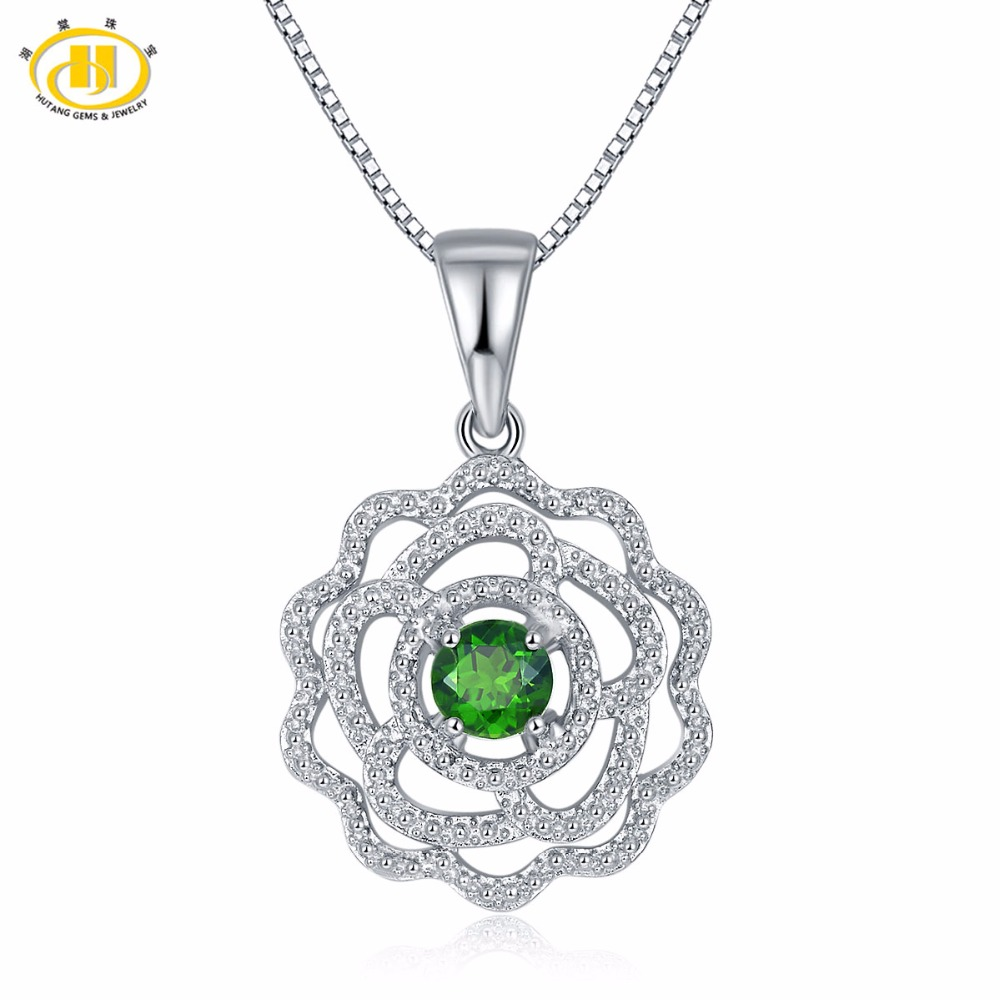 Hutang Trendy Solid 925 Sterling Silver 0.77ct Natural Gemstone Chrome Diopside & Topaz Pendant Necklace Fine Jewelry For Women