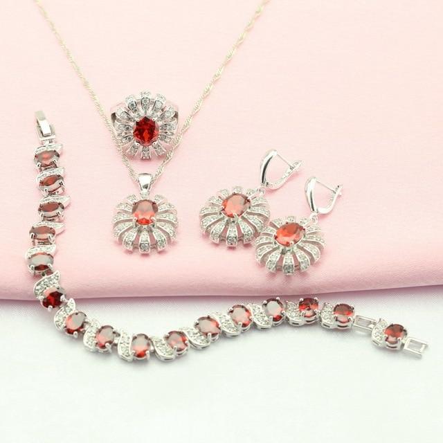 ASHLEY Rojo Granate Piedra Artificial Plata Conjuntos de Joyas Para Las Mujeres Nupcial Pendientes/Pulsera/Collar/Colgante/anillo de Caja Libre