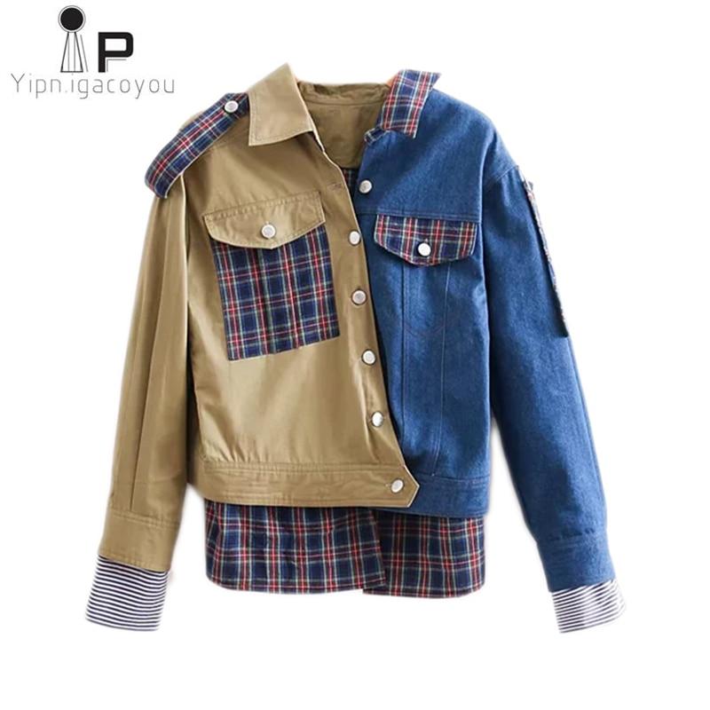 Women Coat 2019 Spring Autumn New Asymmetry Plaid Patchwork Epaulet Denim Jacket Ladies Casual Loose Outerwear