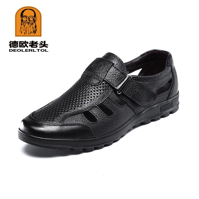 2019 Sommer Männer Echte Leder Sandalen Weiche Leder Anti-slip Sandalen Für Mann Fischer Casual Sandale Schuhe
