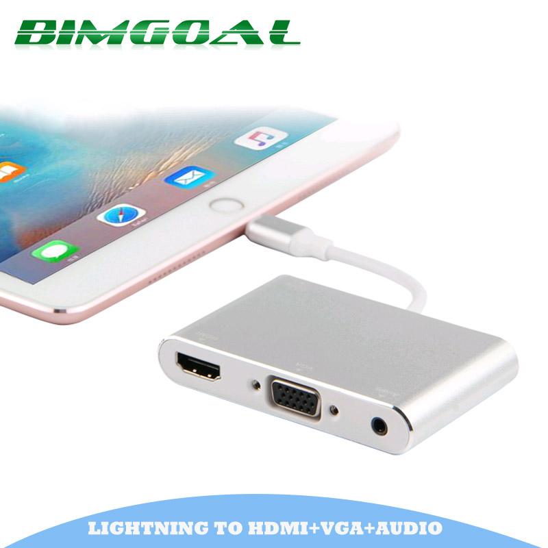 Prix pour 2017 dernière nouvelle argent en aluminium alliage léger ning à hdmi vga audio adaptateur pour iphone5s/6/6 s/7 ipad hdmi vga convertisseur adaptateur