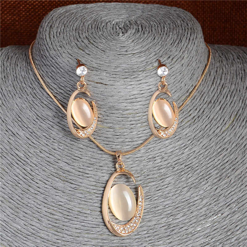 Brand Natural Cat's Eye Stone Jewelry Sets Pendant Necklace Earrings For Women Wedding Crystal Jewelry gold parure bijoux femme