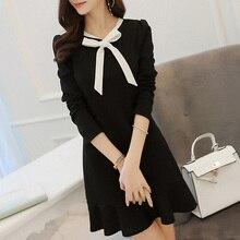 Slim Women Bow Tie Long Sleeve Dress Casual One-piece Frock Flouncing Dress Working Dress QL Sale