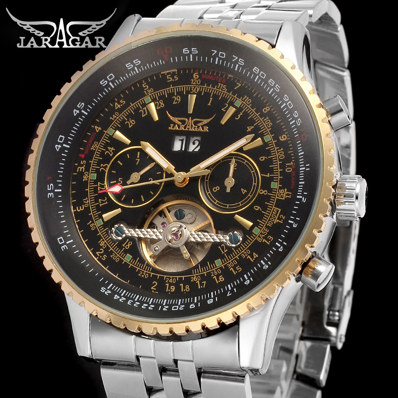 JAG034M4T2new Jargar  Automatic men   watch factory classic  brass band silver color free shipping with  gift box Переносные часы