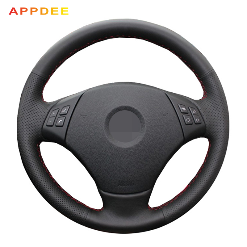 Appdee Black Genuine Leather Steering wheel cover for BMW E90 320d 320i 325i 330i X1 320 318i 328xi 2007Appdee Black Genuine Leather Steering wheel cover for BMW E90 320d 320i 325i 330i X1 320 318i 328xi 2007