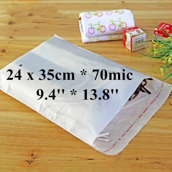 Free Shipping 300pcs/lot 24 x 35cm*70mic Self Adhensive Plastic Clothes Packaging Bag, High Quality White PE Clothing Bag