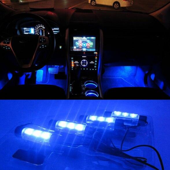 4x 3led blue interieur lamp interieur licht voet lichte auto decoratieve 4in1 12 v