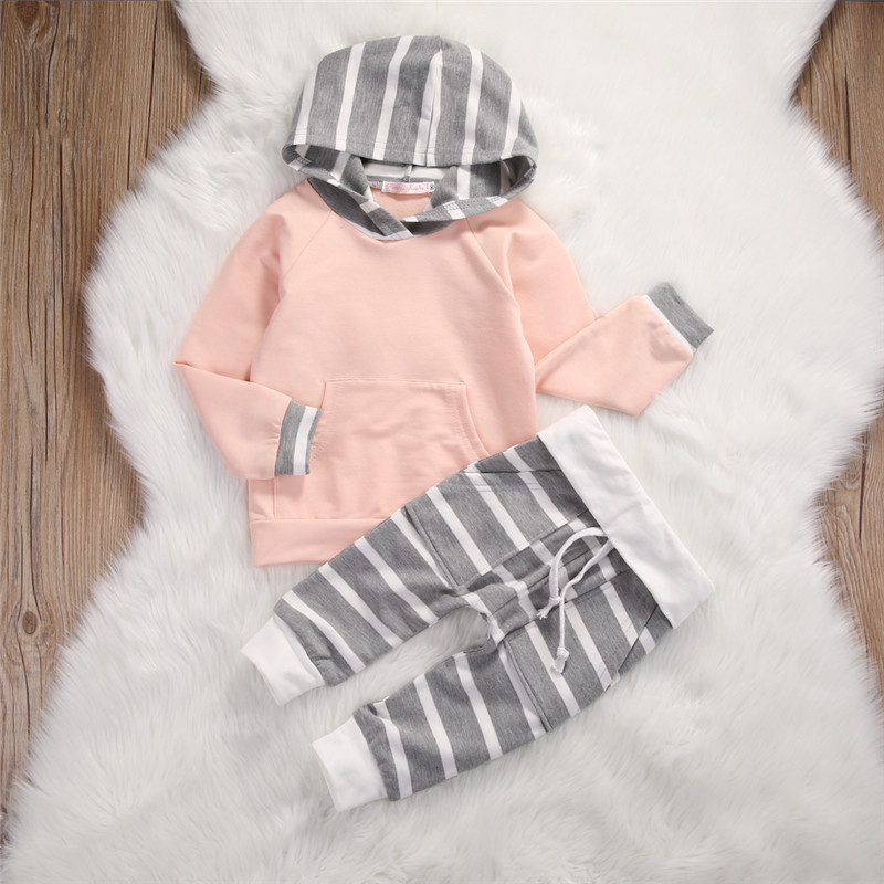 2017 New Style Fashion Newborn Toddler Baby Girls Boy Hooded Tops Sweatshirt Pants 2pcs Long Sleeves Baby Clothes Outfits Set