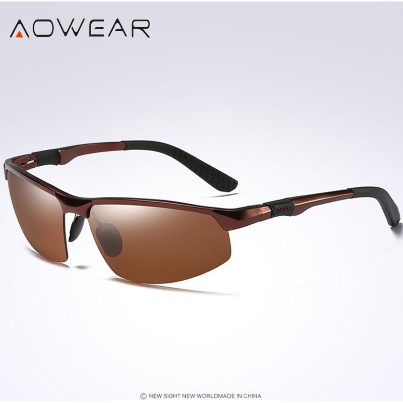 Новое поступление, мужские солнцезащитные очки AOWEAR, поляризационные, спортивные, солнцезащитные очки, мужские, UV400, антибликовые, для улицы, для вождения, зеркальные оттенки, для gafas - Цвет линз: Brown