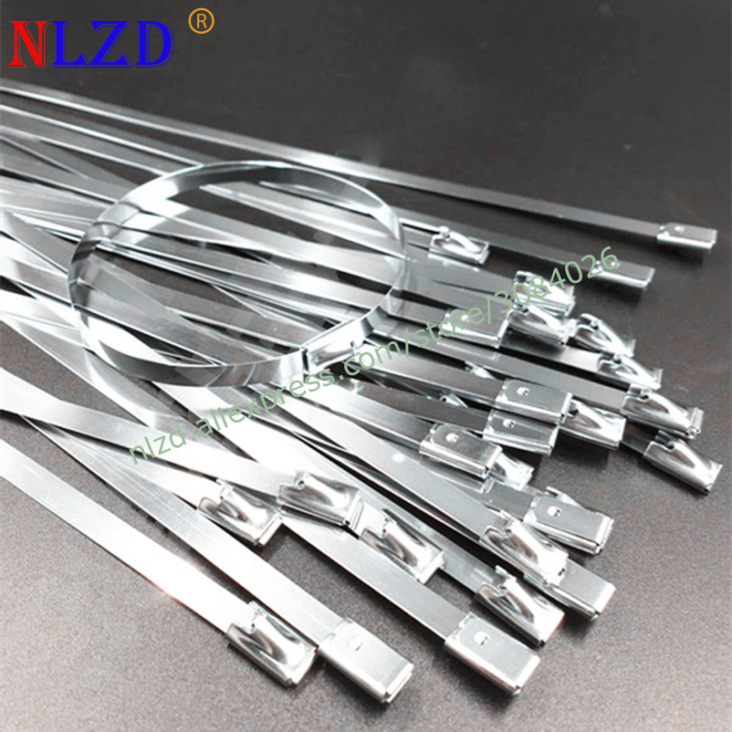"""50 14/"""" Stainless Steel Metal Cable Tie Clamp Strap Exhaust Header Wrap w Tool"""
