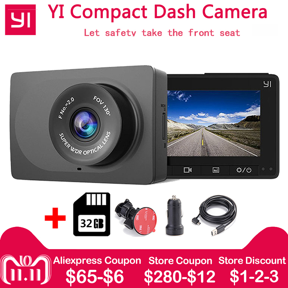 все цены на Xiaomi YI Compact Dash Camera 1080p Full HD Car Dashboard Camera 130 WDR Lens G Sensor 2.7 inch LCD Screen Night Vision Car Dvr онлайн