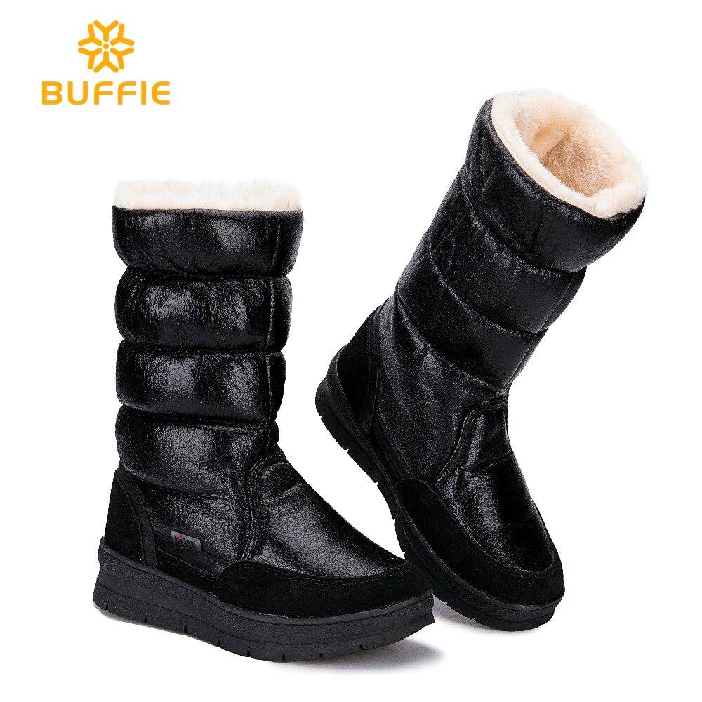 Черные высокие Женская обувь зимние теплые сапоги женские теплые боты наивысшего качества 2018 новые стили Дамская обувь большие Размеры экс...