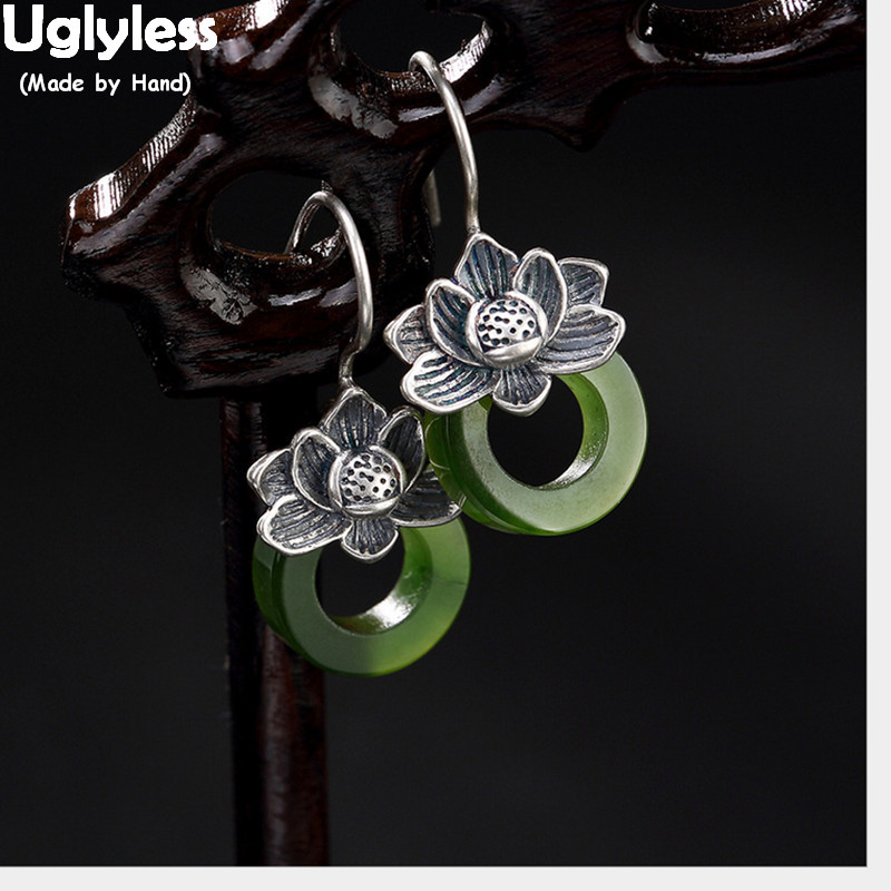 Uglyless S 925 Sterling Silver Natural Green Jade Circle Earrings For Women Vintage Ethnic Lotus Brincos Handmade Jasper Bijoux
