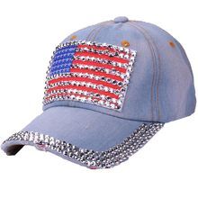 a191b94b310 2018 Summer Fashion Baseball cap Women American Flag Rhinestone Jeans Denim  Baseball Adjustable Bling Hat Cap