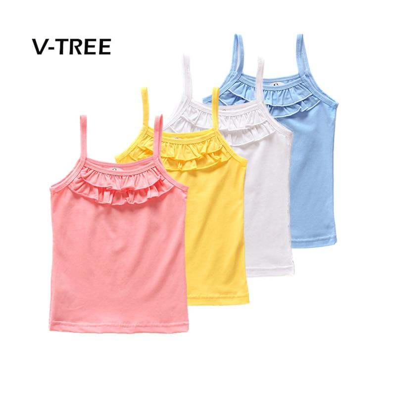 V-TREE Summer Girls T Shirt Cotton Sleeveless Garment T Shirt For Girls Tops Tees Outwear Baby Kids Clothes Designer twist open v back t shirt
