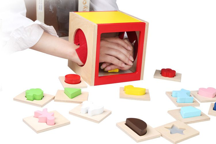 MamimamiHome Baby Wooden Toys Hands And Brains Coordinate Montessori Enlightenment Toys Touch The Guess Building Blocks mamimamihome baby wooden montessori toys pink sound building blocks children early education situational creativity blocks