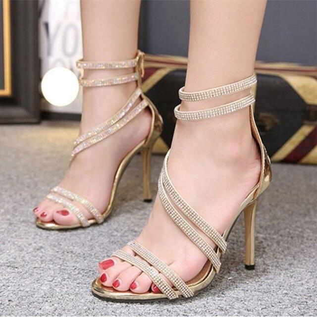 Precio reducido venta al por mayor comprar online Sandalias de lujo con diamantes imitación para mujer zapatos fiesta  elegantes tacón alto cristal