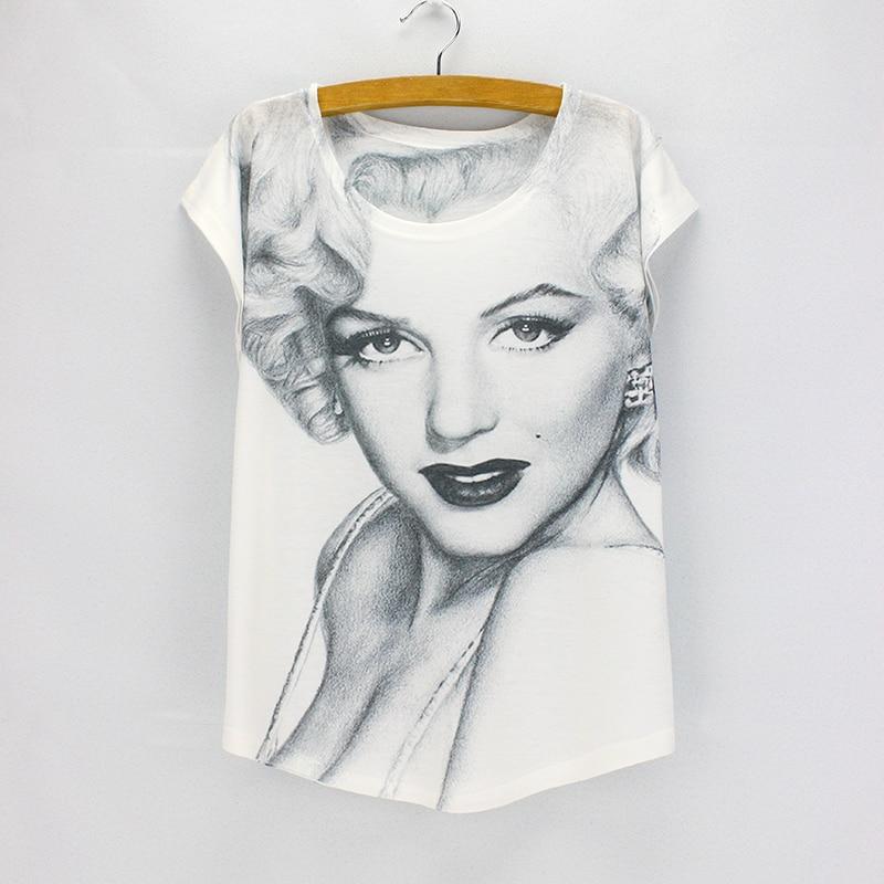 セクシー な ヴォーグ モンロー プリント トップ tシャツ女性ファッション夏の ドレス 2016新しい到着