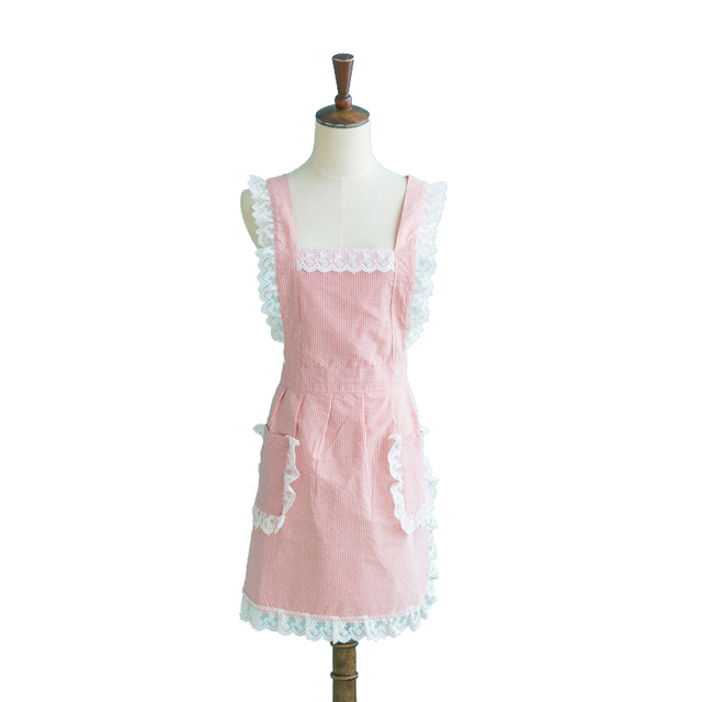 cute kitchen aprons remodel my korean for woman lady vertical stripes lace coffee shop pinafore maid cinderella cosplay princess