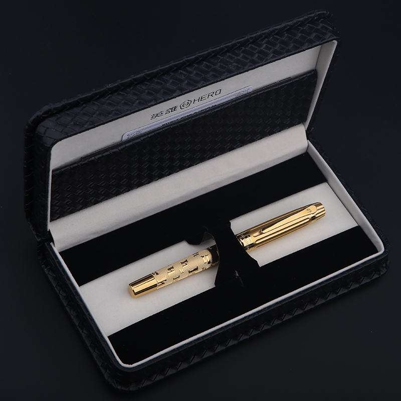 High Quality 12K Golden Luxury fountain pen 0.5mm ink pens metal pen for writing Caneta Stationery with gift box 1061