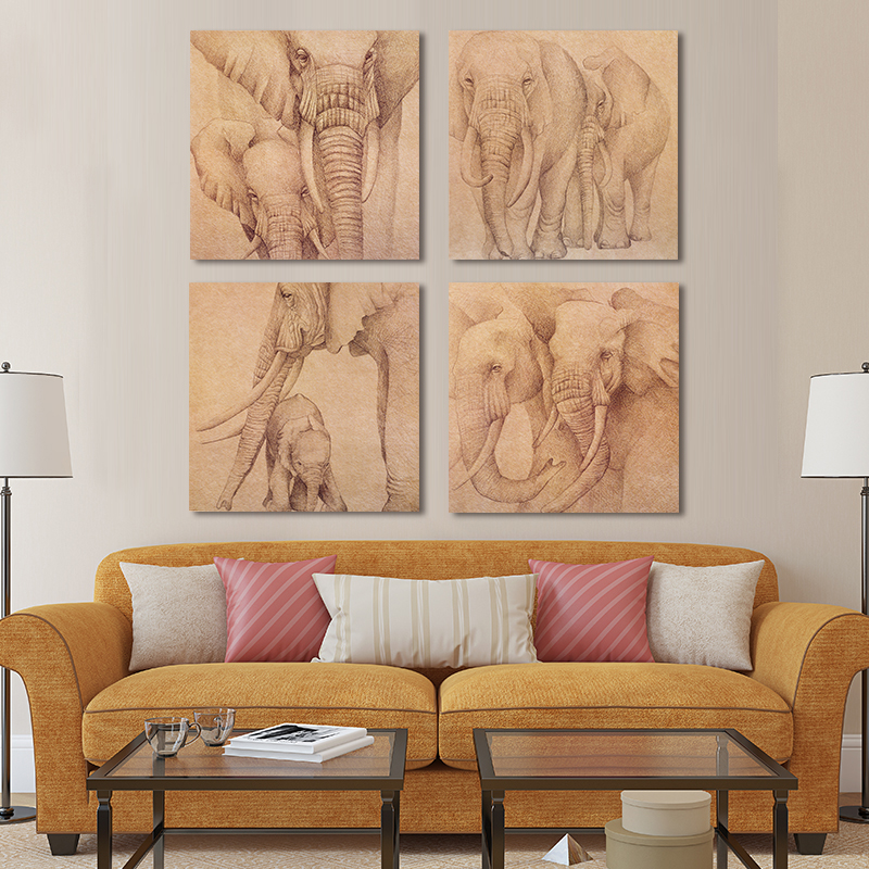 Frameless Southeast Asian Customs Elephant Oil Painting -3221