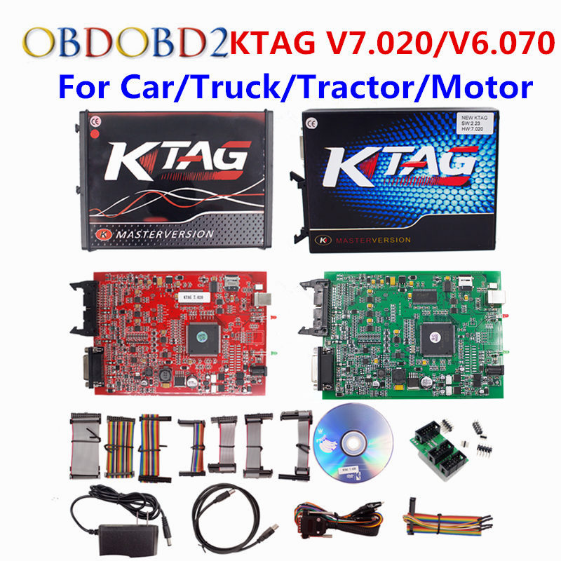Online EU Red Kess V5.017 Kess V2 5.017 V2.47 OBD2 Manager Tuning Kit Red KTAG V7.020 No Token K-TAG 7.020 Master ECU Programmer