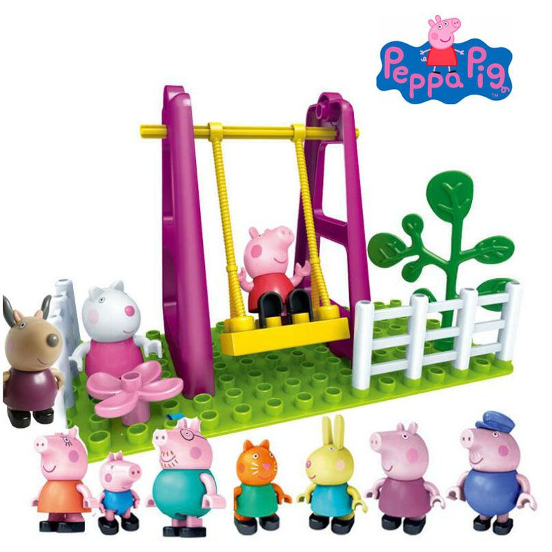 Genuine Peppa Pig Swing in the Amusement Park Building Toy with George daddy mummy Suzy candy Rebecca Antelope 10 dolls in total