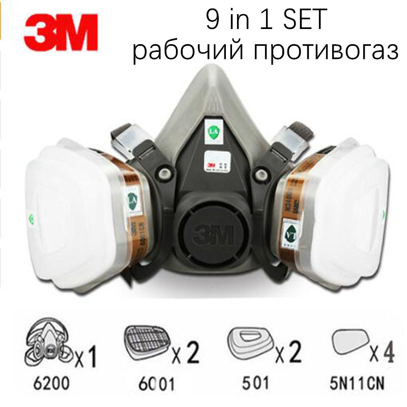 9 In 1 3M 6200 6001 Organic Vapor Gas Mask Safety Working Filter Respirator Chemical Dust Protection Paint Pesticide Respirator