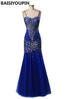 871982a4dd Abendkleider Crystal 2016 Vestido De Noite Longo Luxury Crystals Royal Blue  Mermaid Evening Dresses With Straps