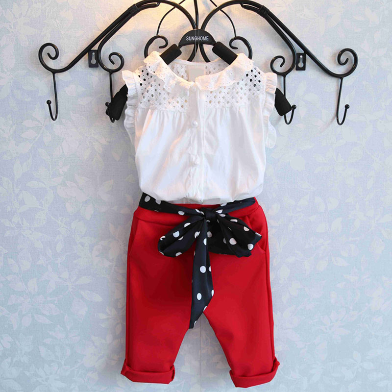 New Brand Fashion Summer Girls Clothing Sets Baby Kids Clothes Petals Sleeveless T-Shirt +Red Pants 2Pcs Suits Girls Clothes