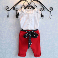 2016 New Girls Clothing Sets Baby Kids Clothes Suit Children Sleeveless T Shirt Red Pants Fashion