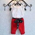 2016 Novos Conjuntos de Roupas Meninas Crianças Roupa Do Bebê Terno Crianças sem mangas T-Shirt + Calças vermelhas ternos Moda