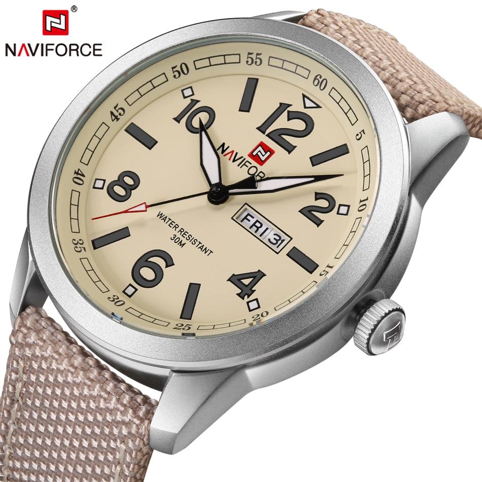 Naviforce relojes hombres militar deportes cuarzo relojes de marca de lujo moda casual auto fecha semana 3ATM nylon impermeable Relojes