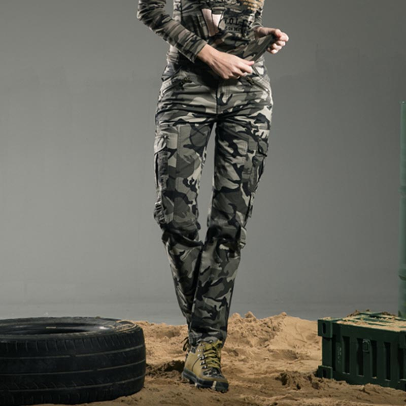 Freearmy Autumn Pants Women Cotton Straight Trousers Slim Military Camo Jogging Pants Casual Camouflage Pants & Capris