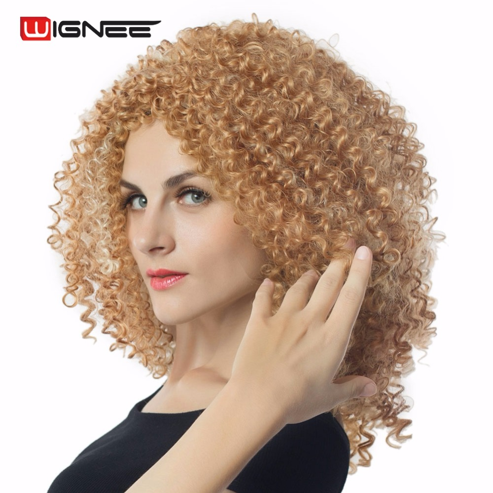 Wignee Pure/Mixed Color Brown & 613 Curly Wig For Black/White Women High Temperatur Synthetic Glueless Cosplay Natural Hair Wig
