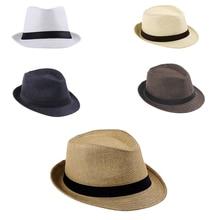 2018 New Hot Summer Unisex Women Men Fashion Casual Trendy Beach Sun Straw Jazz Hat Cowboy Fedora hat Gangster Cap Ribbon
