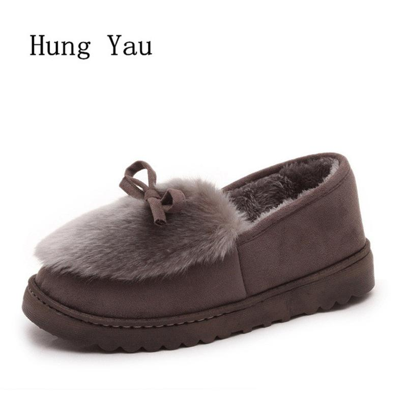 Flats Shoes Woman 2017 Winter Warm Snow Boots Fur Casual Women Shoes Butterfly-knot Fashion 2017 Women Low Shallow Mouth flats shoes woman loafers casual women shoes slip on butterfly knot fashion 2017 walking flats women low shallow mouth summer