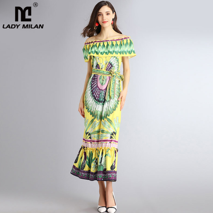 Lady Milan 2018 Womens Slash Neckline Ruffles Printed Sash Bow Belt Sexy Casual Holiday Beach Style Designer Mid Calf Dresses