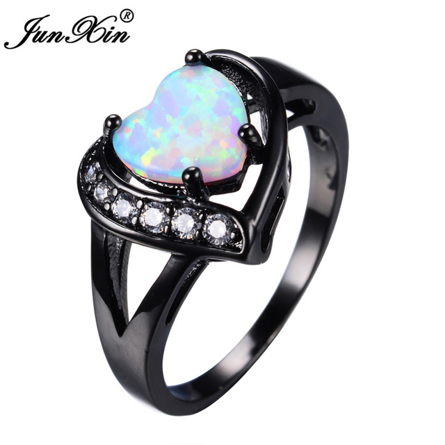 JUNXIN Women White Fire Opal Heart Ring With AAA Zircon Black Gold