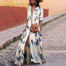 Summer Boho Dresses For Women 2018 Ankle Length Long Dress With Big Pockets White Half Sleeve Womens Laipelar