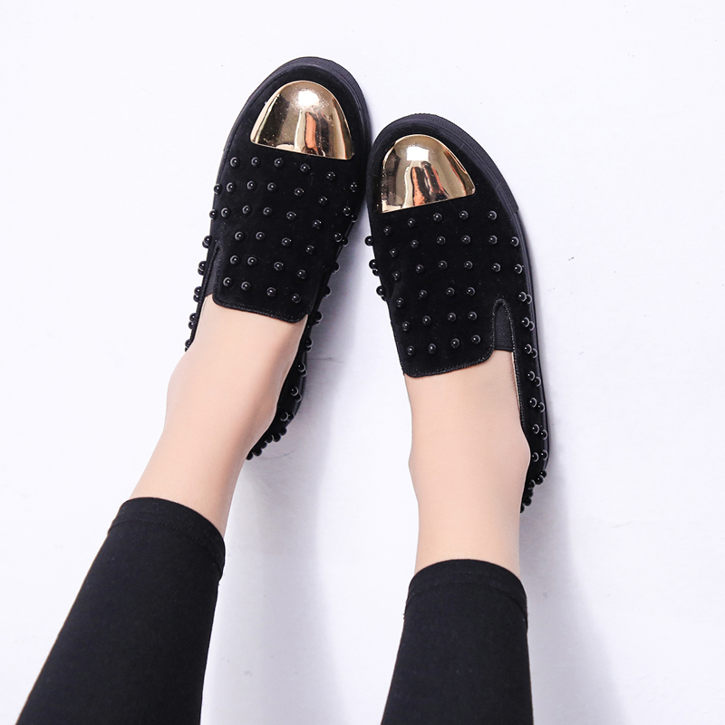 Ladies Loafers Velvet Cool Gold Rivets Flock Woman Spring Autumn Fashion Slip On Round Toe Women Flats Casual Shoes Moccasin odetina 2017 new women pointed metal toe loafers women ballerina flats black ladies slip on flats plus size spring casual shoes