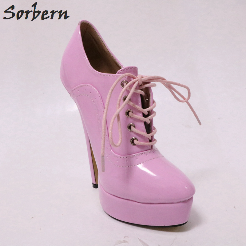 À Color Talons Bonbons Dames Dressing up Rose Chaussures Hauts Brillant Pompes pink Pompe 43 Sorbern Cm Custom Dentelle 18 Talon Femmes Croix PwCqBfBR
