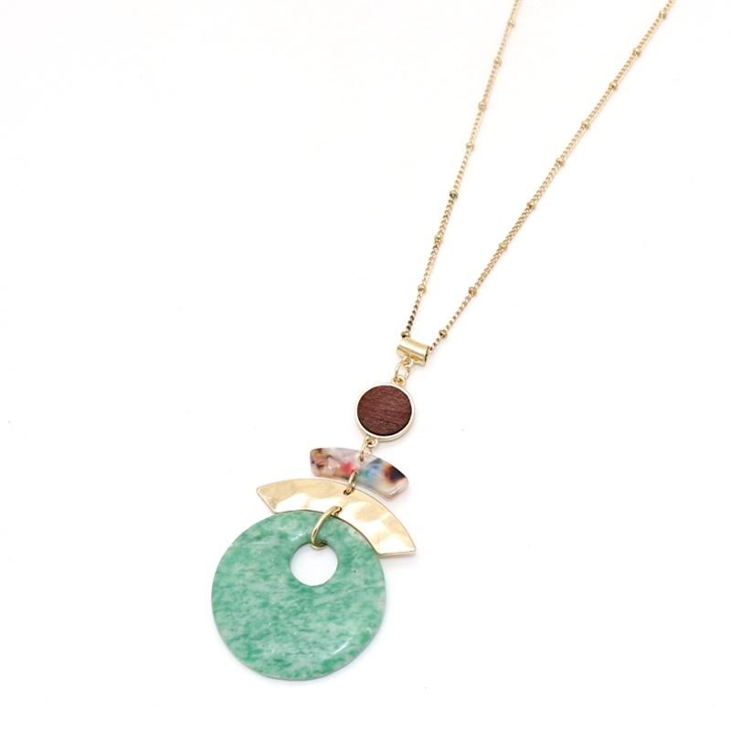 Fashion Alloy Arc Wooden Charms Green Stone Pendant Long Chain Sweater Necklace Geometric Accessories Body Jewelry
