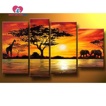 Diamond embroidery full scale landscape Africa Diamond embroidery patterns rhinestones embroidery painting triptych Hobby crafts