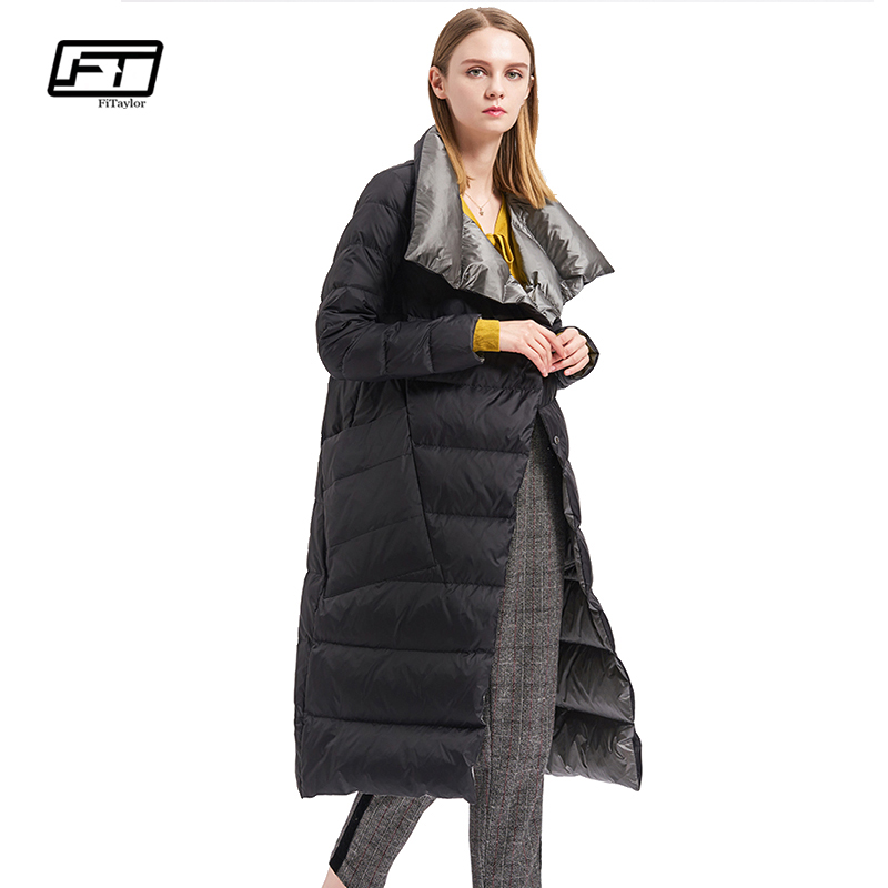 Fitaylor Winter Women Down Coat Double Sided Down Jacket Plus Size Double Breasted Ultra Light Warm