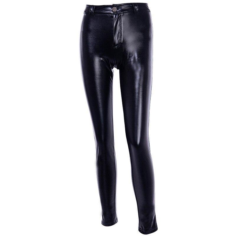 Nouveau femmes Pu cuir Skinny pantalon taille haute Slim Fit Leggings Long pantalon femme Patchwork brillant Faux cuir crayon pantalon - 4