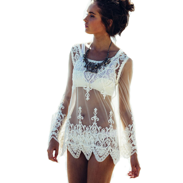 new! fashion summer white lace beach cover up, bikini cover up